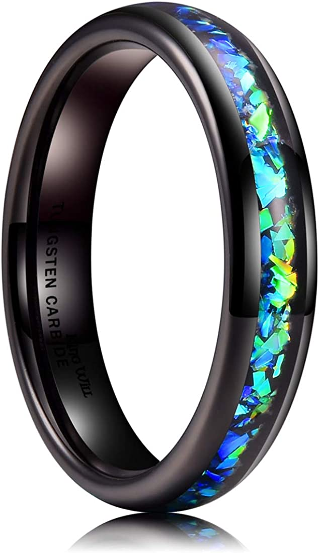 King Will Mens 4mm 6mm 8mm Black Tungsten Carbide Wedding Ring Shining Blue-Green Fragments Engagement Band