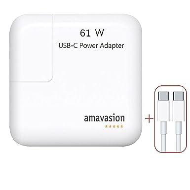 a2f3bc0f894 Amavasion 61W USB C Adaptador de corriente para Apple MacBook de 13  pulgadas, la energía