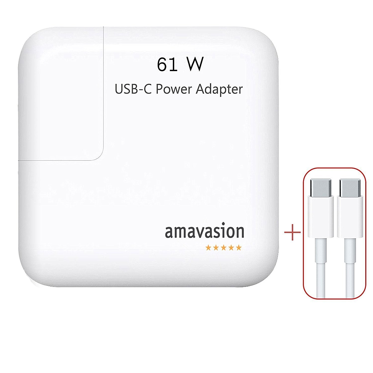 61W USB-C Power adapter,Mac Pro Charger,Amavasion Replacement Type C Charge Adapter for Macbook/Macbook Pro 13 inch,iPhone X,iPhone 8/8Plus/7/7Plus,Samsung Galaxy S8/Note 8.