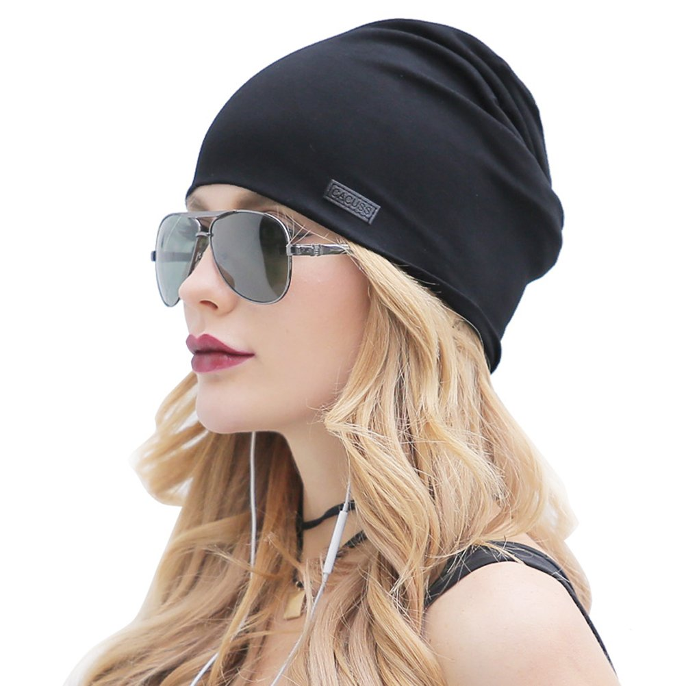 CACUSS Classical Teenager Baggy Skull Cap Thin Cotton Stretch Beanie Sport Hat(Black)