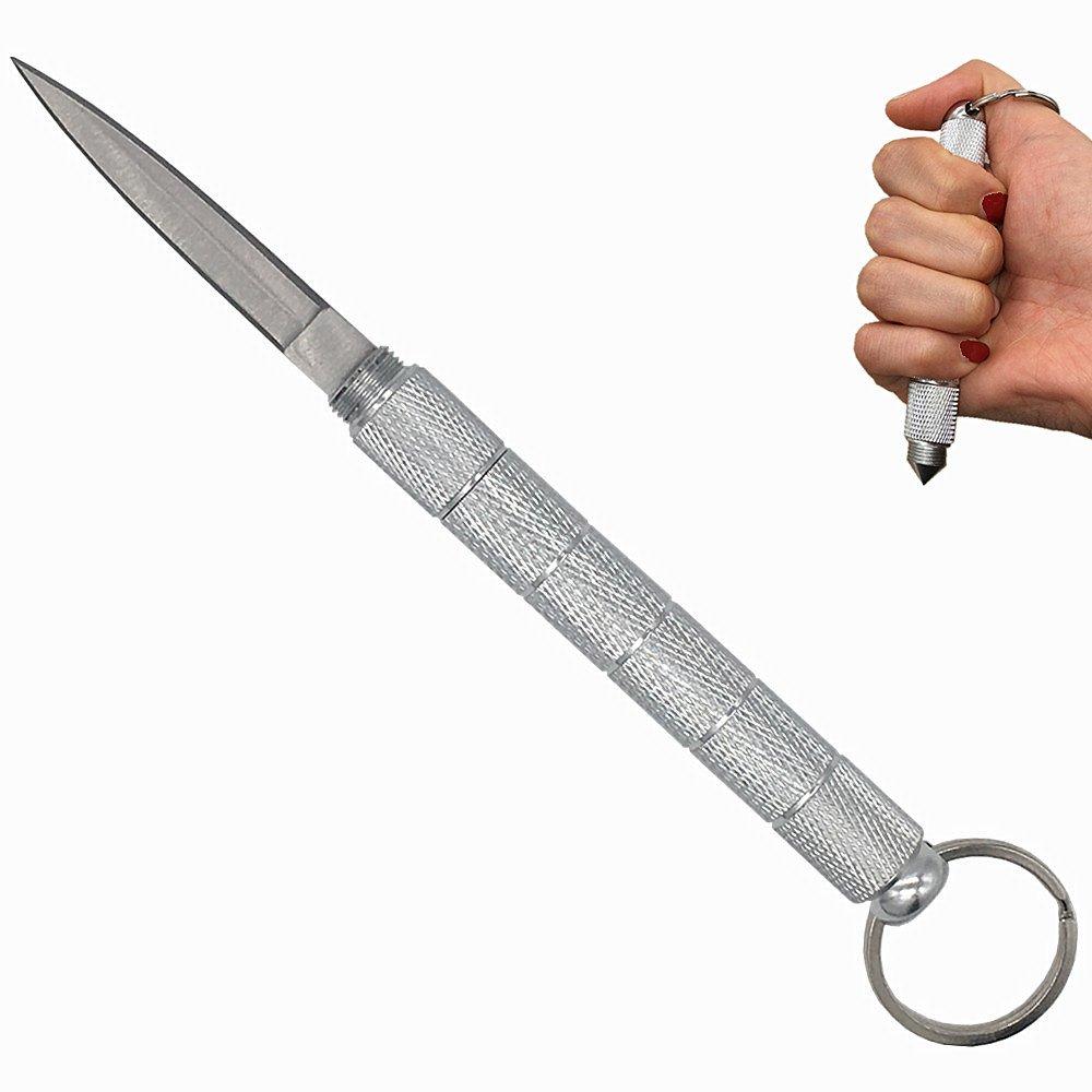 Pocket Keychain Knife, Kubaton Knife Self Defence Knife Outdoor Tactical Knife for Girl Men & Women (Silver)