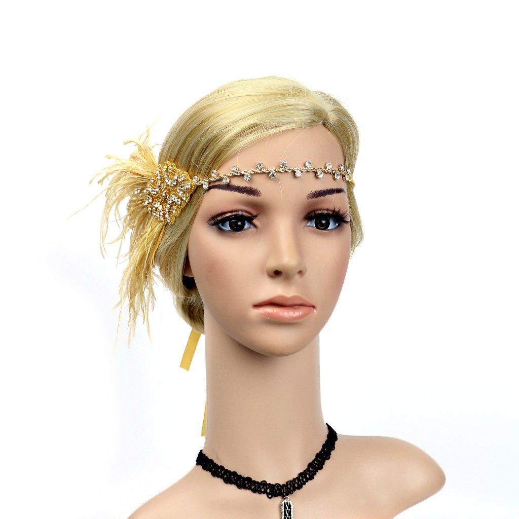 IPOTCH Bandeau pour Cheveux Femme avec Plumes Artificielles Bande Ajustable Fascinator Decade 1920 Vintaje