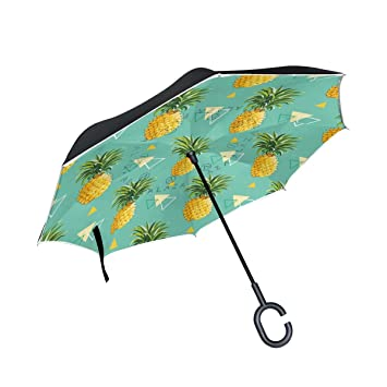 Paraguas invertido de doble capa de piña geométrica, paraguas invertido, impermeable, resistente al