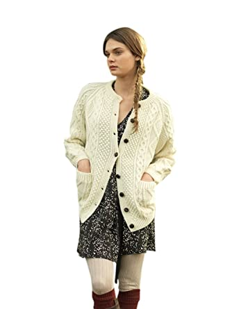 Hand Knit Ladies Irish Aran Long Cardigan Sweater 54b195542