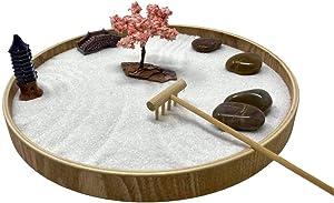 Desk Zen Garden – Office Garden – Mini Rock Garden with Sand – Wooden Base, Meditation Statue and Bamboo Rake – Peaceful Japanese Sand Garden – Meditation Garden Kit - Blossom Tree