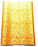 """1pcs Solid Embroidered Orange African Fabric Sego Gele for Headtie, Head Gear, Men's Hat. 2.5 Yards By 18"""" …"""