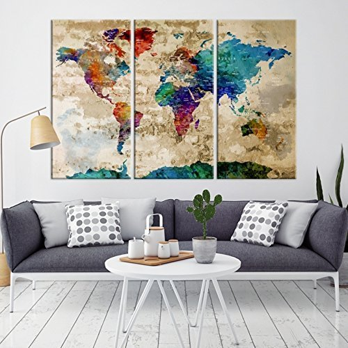 Amazon 3 panel watercolor colorful wall art world map push pin 3 panel watercolor colorful wall art world map push pin large canvas print push pin gumiabroncs Images