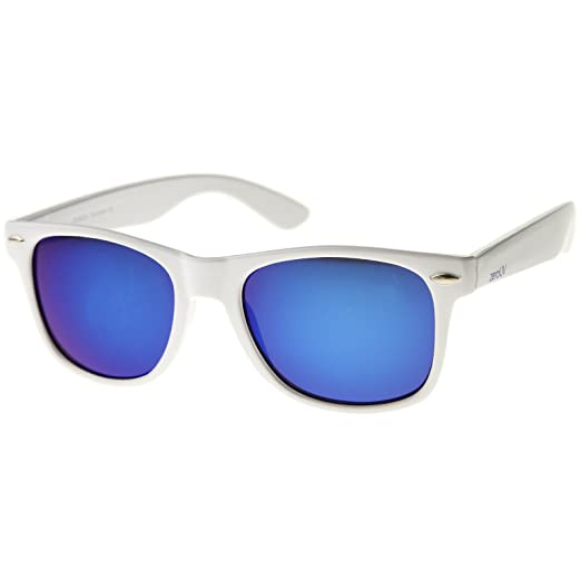 dc96d1b2498 Hipster Fashion Flash Color Mirror Lens Horn Rimmed Style Sunglasses  (White Ice)