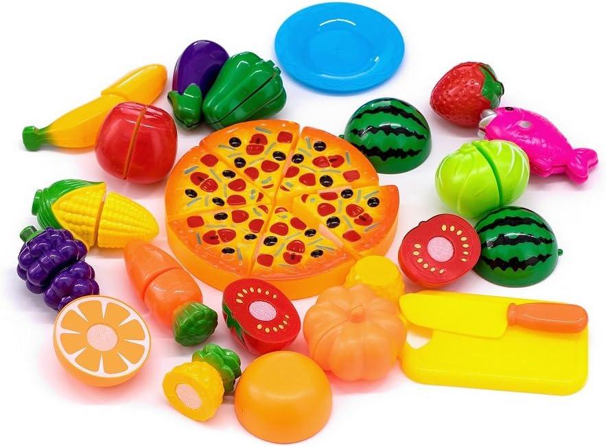 Kingdommax Kitchen Toy Food, 24Pcs Plastic Fruit Vegetable Kitchen Cutting Toy Set Kids Toys