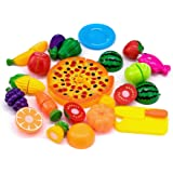 Kingdommax Kitchen Toy Food, 24Pcs Plastic Fruit Vegetable Kitchen Cutting Toy Set Kids Toys