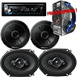 Package - Pair of Pioneer TS-G1645R 6-1/2 2-way 250W + Pair of Pioneer TS-A6886R 6x8 4-way 350W Car Speakers + Pioneer DEH-X3900BT Single-DIN In-Dash Bluetooth CD Receiver + Free EBH700 Headphone