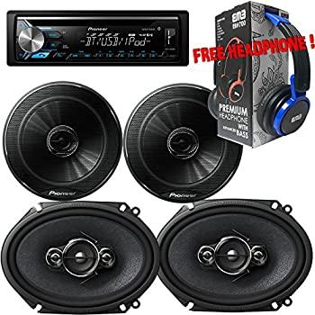 "Package - Pair of Pioneer TS-G1645R 6-1/2"" 2-way 250W + Pair of Pioneer TS-A6886R 6""x8"" 4-way 350W Car Speakers + Pioneer DEH-X3900BT Single-DIN In-Dash Bluetooth CD Receiver + Free EBH700 Headphone"