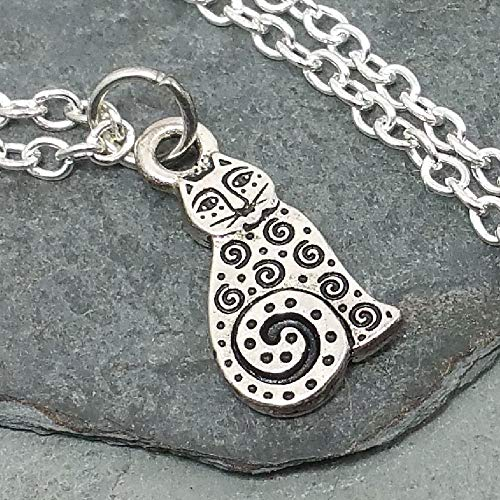 (Spotted Cat with Spirals Antique Silver Charm Necklace, 18