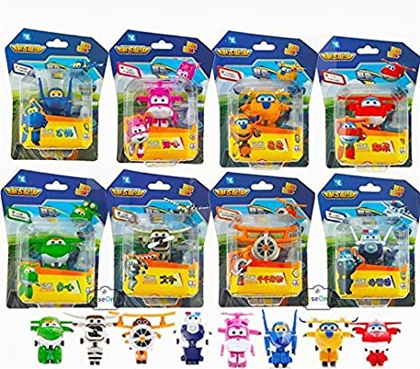8PCS/Lot Super Wings Mini Planes Model Airplane Transformation Robot Brinquedos Action Figures Toys baby