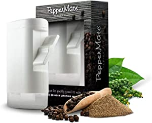 PepperMate Traditional Pepper Mill 723 - Turnkey High Volume Salt and Gourmet Peppercorn Grinder (White)