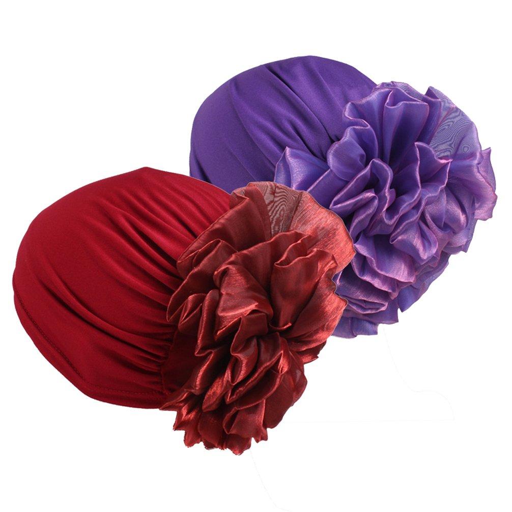 Women Big Flower Elastic Turban Beanie Head Wrap Chemo Cap Hat (Purple&Wine red)