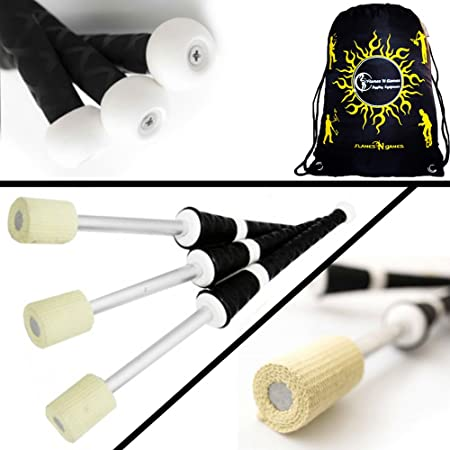 3x PLAY MEPHISTO Fire Juggling Torches (50mm Wicks) Pro Juggling Fire Torch Set of 3 + Flames N Games Travel Bag! Exellent Training set of Torches for Fire Juggling!