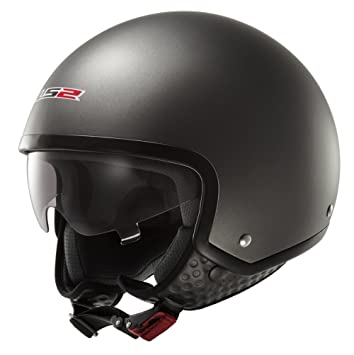 LS2 OF561,1 - Casco para moto, visera desplegable, color negro