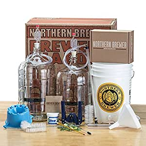 Deluxe Home Brewing Equipment Starter Kit - Glass Carboys - with Chinook IPA Beer Recipe Kit