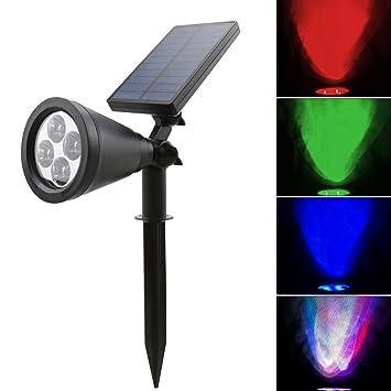 gr/ün 4 LEDs wasserdicht solarbetriebene Sicherheit Gartenleuchten Auto-On bei Nacht//Auto-Off bei Tag 180 Winkel einstellbar Solar-Strahler