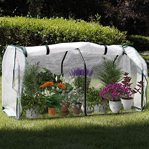COZUHAUSE Mini Greenhouse with Clear Polyethylene Cover L48×W22×H24 Zipper Viewing Port Garden Green House