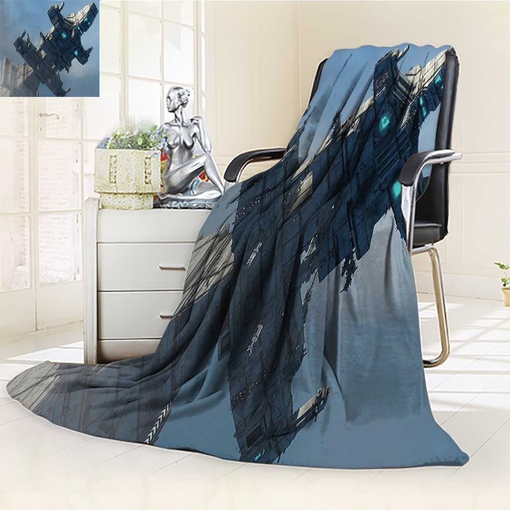 YOYI-HOME Silky Soft Plush Warm Duplex Printed Blanket,Outer Space Photo of Huge Military Ship in The Air Solar Planetary Cosmos Vehicle Grey Blue Anti-Static,2 Ply Thick Blanket /W59 x H39.5
