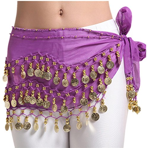 Isis Costume Video (Triangle Belly Dancing Hip Scarf Belt Waist Chain Wrap Costumes Dangling Gold Coins and Beads , purple)