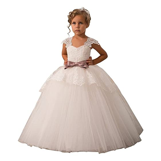 Amazon hengyud elegant lace appliques cap sleeves tulle flower hengyud elegant lace appliques cap sleeves tulle flower girl dress white 1 14 year old mightylinksfo