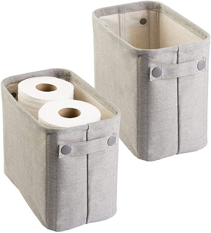 trucchi e molto altro Contenitore salvaspazio dotato di due pratici scomparti per indumenti Scatola per armadio con comodi manici grigio antracite//naturale mDesign Cesta portaoggetti bagno