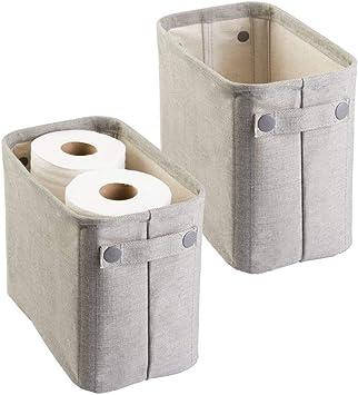 Mdesign 2er Set Zeitungskorb Fürs Bad Stilvolle Toilettenpapier Aufbewahrung Aus Baumwolle Praktischer Aufbewahrungskorb Für Magazine Handtücher