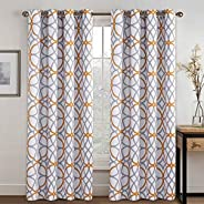 "H.VERSAILTEX Printed Blackout Curtain Drapes for Bedroom/Living Room, Length 63""/84"""