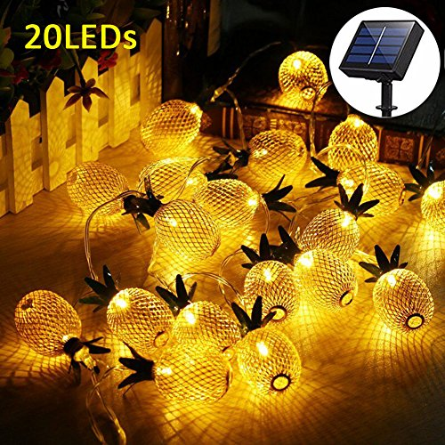 Adecorty Pineapple Solar String Lights, 15ft 20 LEDs Fairy String Lights Waterproof Solar Powered Hanging lights for Outdoor Garden Patio Landscape Home Wedding Birthday Party Decoration (Warm White) - 15' Led Light String