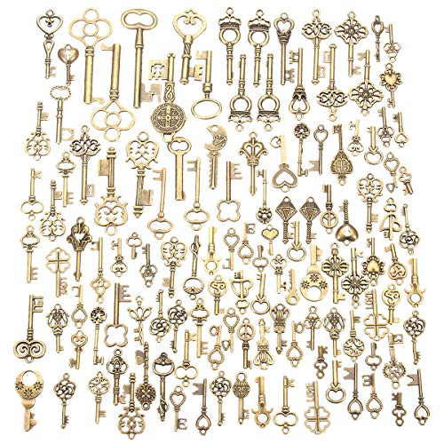 Jeteven 125pcs Vintage Skeleton Charm Key Set Necklace Bracelets Pendants Jewelry DIY Making Supplies Wedding Favors (Bulk Vintage Keys)