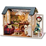 Flever Dollhouse Miniature DIY House Kit Creative Room with Furniture for Romantic Artwork Gift(Holiday Time Plus Dust Proof