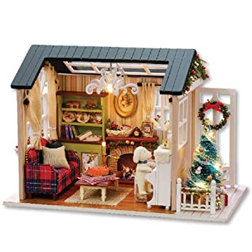 Review Flever Dollhouse Miniature DIY House Kit Creative Room with Furniture for Romantic Artwork Gift(Holiday Time)