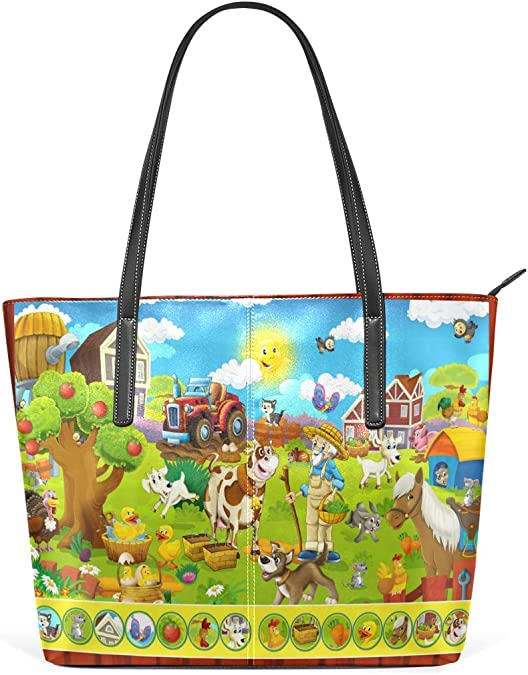 Cartoons Colorful Leisure Fashion PU Leather Handbag for Women Large Tote Bag Shoulder Bag for Gym Beach Travel Daily Bags