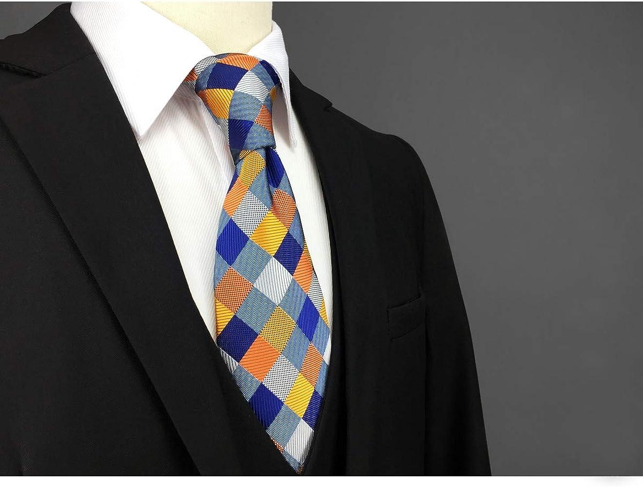 shlax&wing La Moda único Hombre Seda Corbatas Para Multicolor a cuadros Extra largo: Amazon.es: Ropa y accesorios