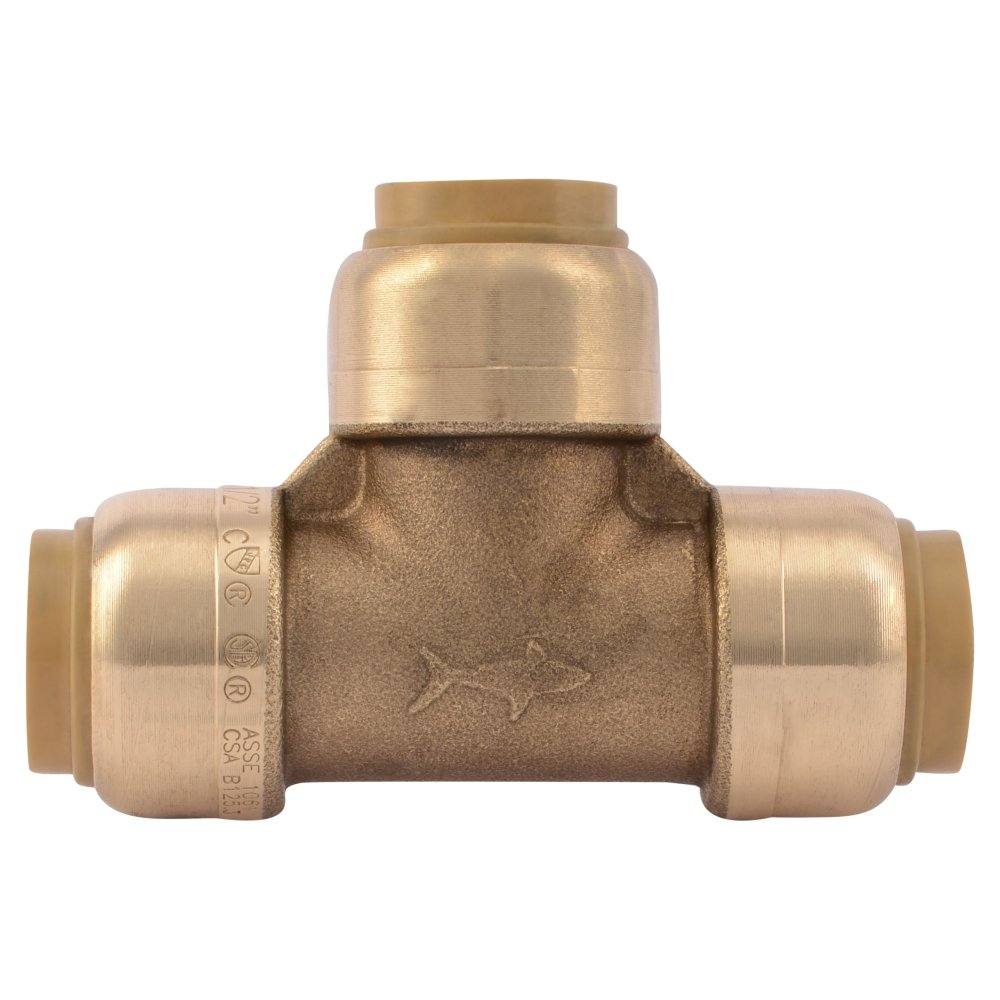 SharkBite U362LFA Tee Plumbing Fitting Pipe Connector, 1/2 Inch, PEX Fittings, Push-to-Connect, Copper, CPVC