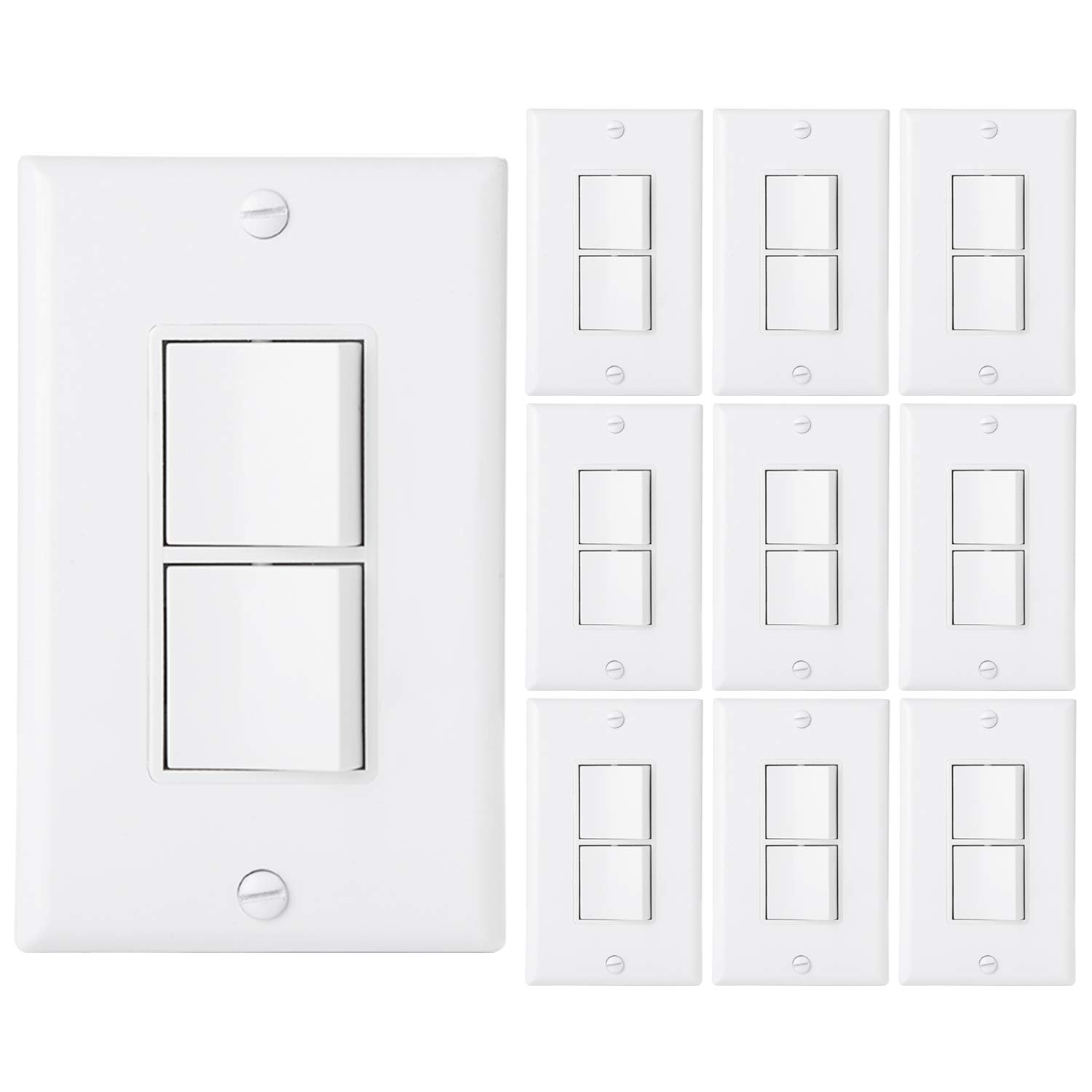 [10 Pack] BESTTEN AC Combination Light Switch, Single-Pole Double ON/Off Interrupter, 15A 120/277V, Dual Control Paddle Rocker, Grounding, Residential & Commercial Grade, Wall Plate Included, White