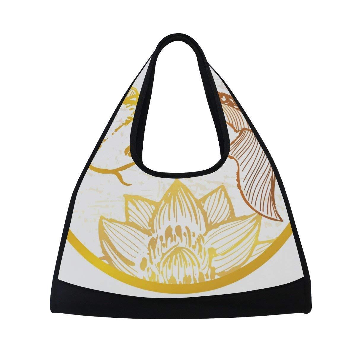 Sport Gym Bag Koi Fish Lotus Canvas Travel Duffel Bag
