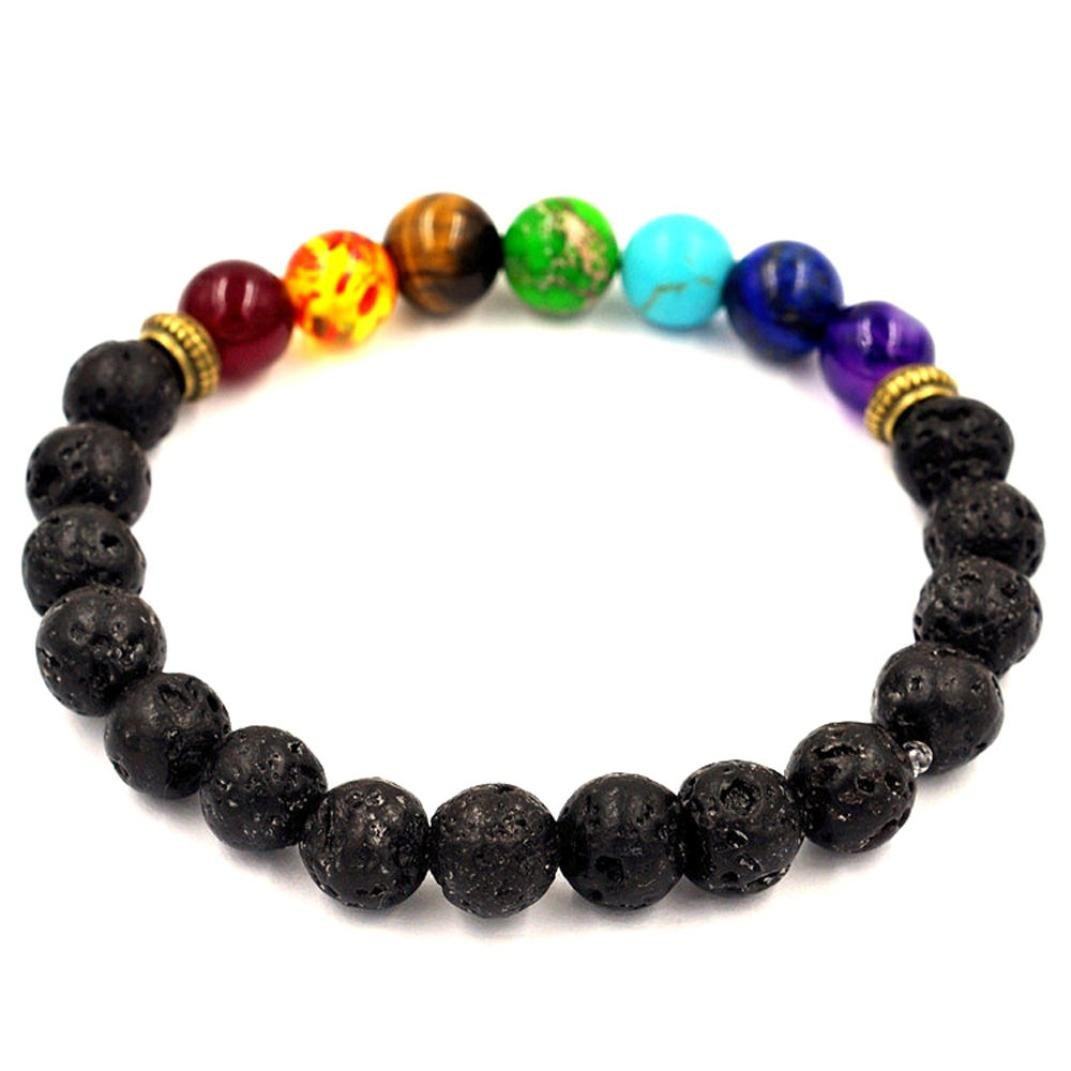 BCDshop Men Healing Bracelets Elastic Stretch Beaded Wristband Chakras Tibet Charm Bracelets