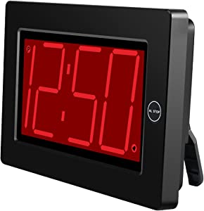 KWANWA Digital LED Wall Clock with 3'' Large Display Battery Operated/Powered Only - Black