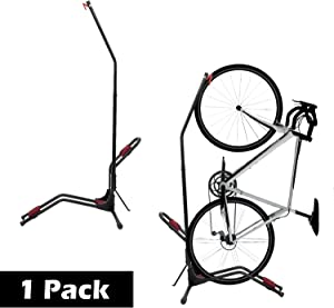 "Houseables Bike Rack Wall, Bikes Stand Floor, 47.9""x25"", 1 Pk, Black, Red, Fits 2.4"" W, Stainless Steel, Mount Vertical, Free Standing, Storage, Gravity Stands, Upright, For Indoor, Mountain Bicycle"