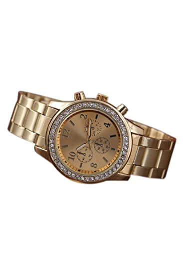 5f500bf89172 Reloj de mujer - Geneva Cristal Unisexo Acero inoxidable Reloj de pulsera  de cuarzo Dorado  Amazon.es  Relojes