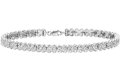 Naava Women's 9 ct White Gold Pave Set 0.25 ct Diamond Link Bracelet VuqNKGexU