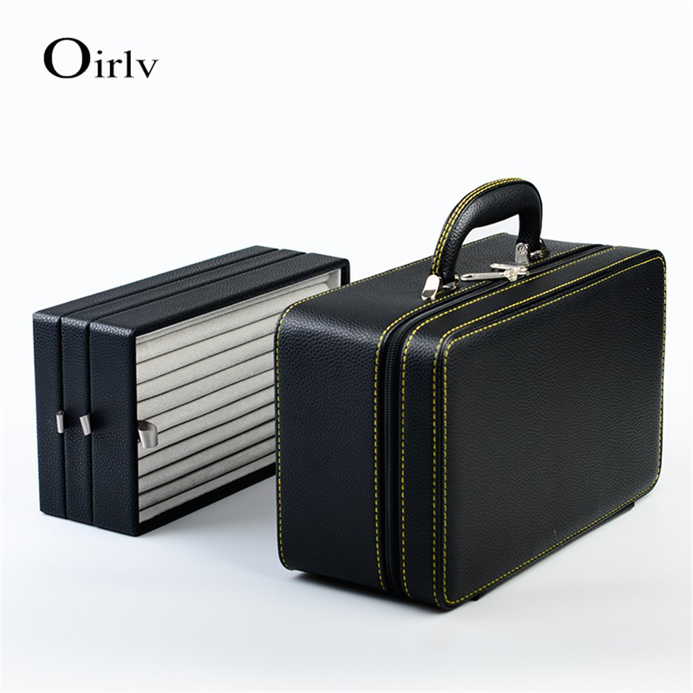 Oirlv Black Leather Jewelry Box Handmade Travel Jewelry Organizer Storage Case Holder For Girl Lady Earring,Ring,Necklace,Pendant,Watch,Bracelet.(3 layers) by Oirlv (Image #6)