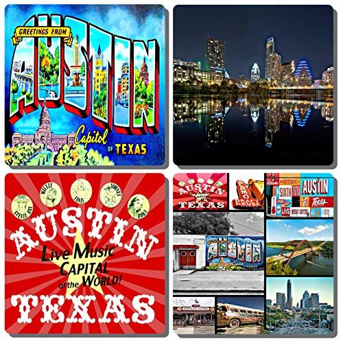 (EXIT82ART - Stone Drink Coasters (Set of 4). Iconic Austin, Texas. Tumbled Stone, Cork-backed)