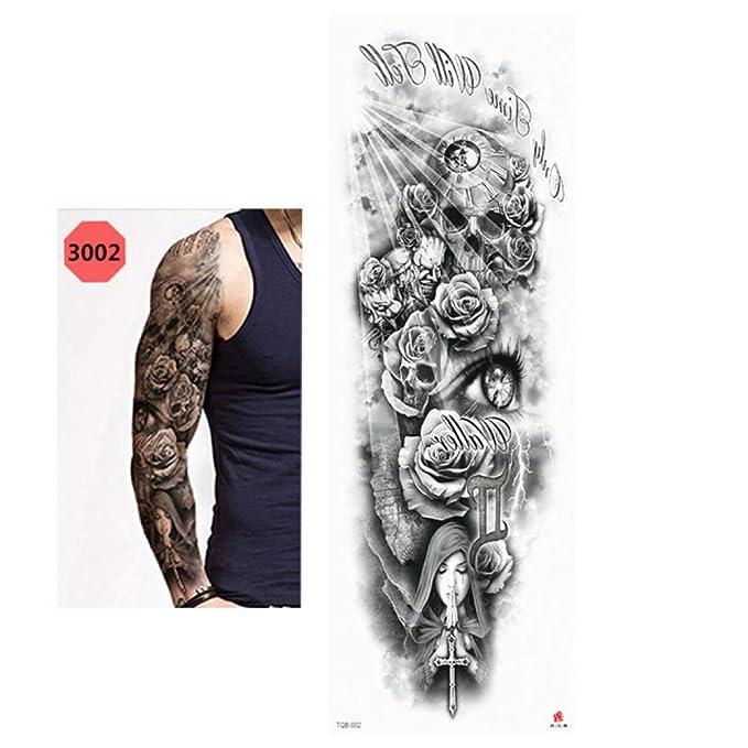 tzxdbh 5Pcs- Etiqueta Engomada del Tatuaje A Prueba De Agua Cráneo ...
