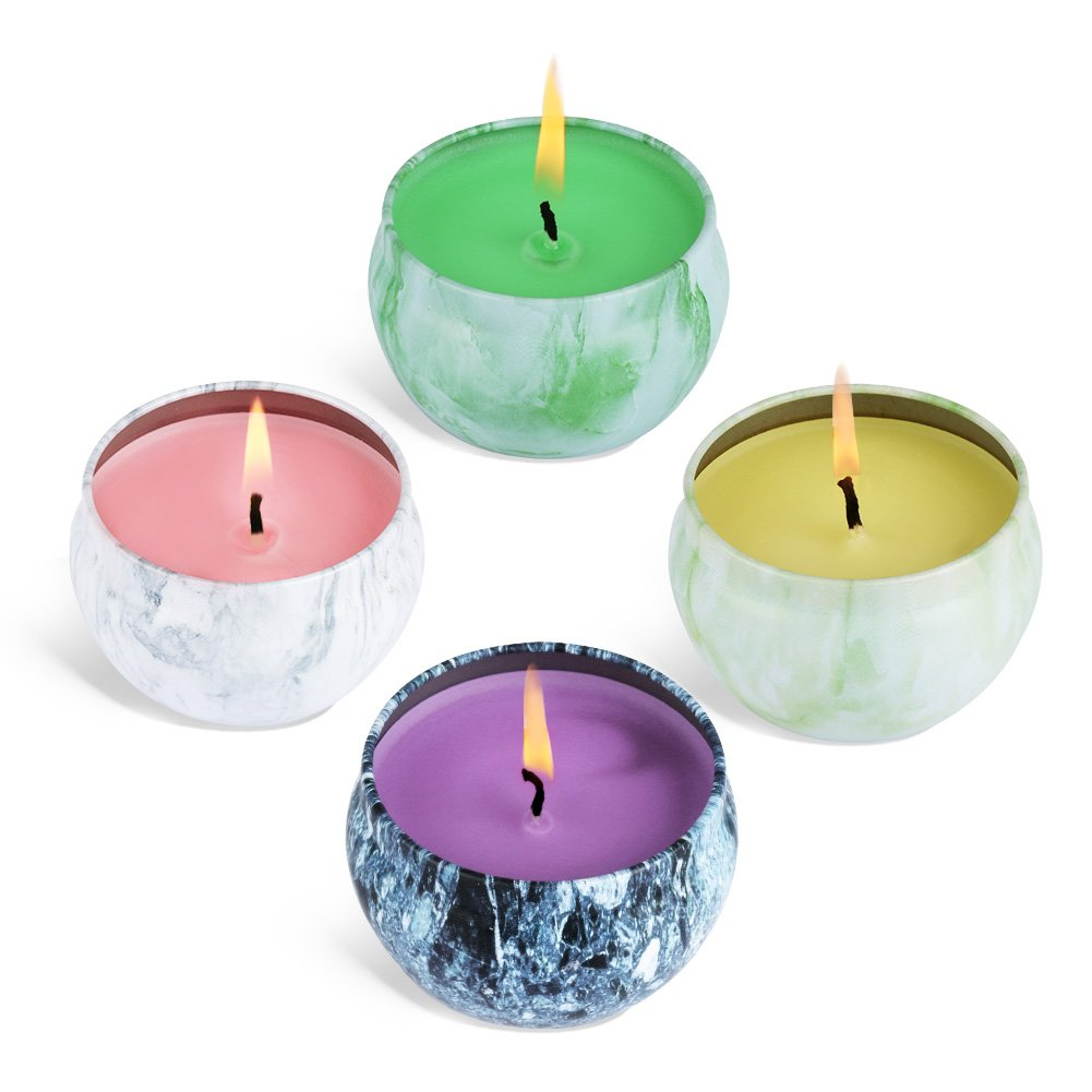 Laluztop Candles Peach Mango Grapefruit & Bergamot, Scented Candles Natural Soy Wax Portable Travel Tin Candle, 100% Soy Wax for Stress Relief and Aromatherapy Candles,Set Gift of 4 Pack