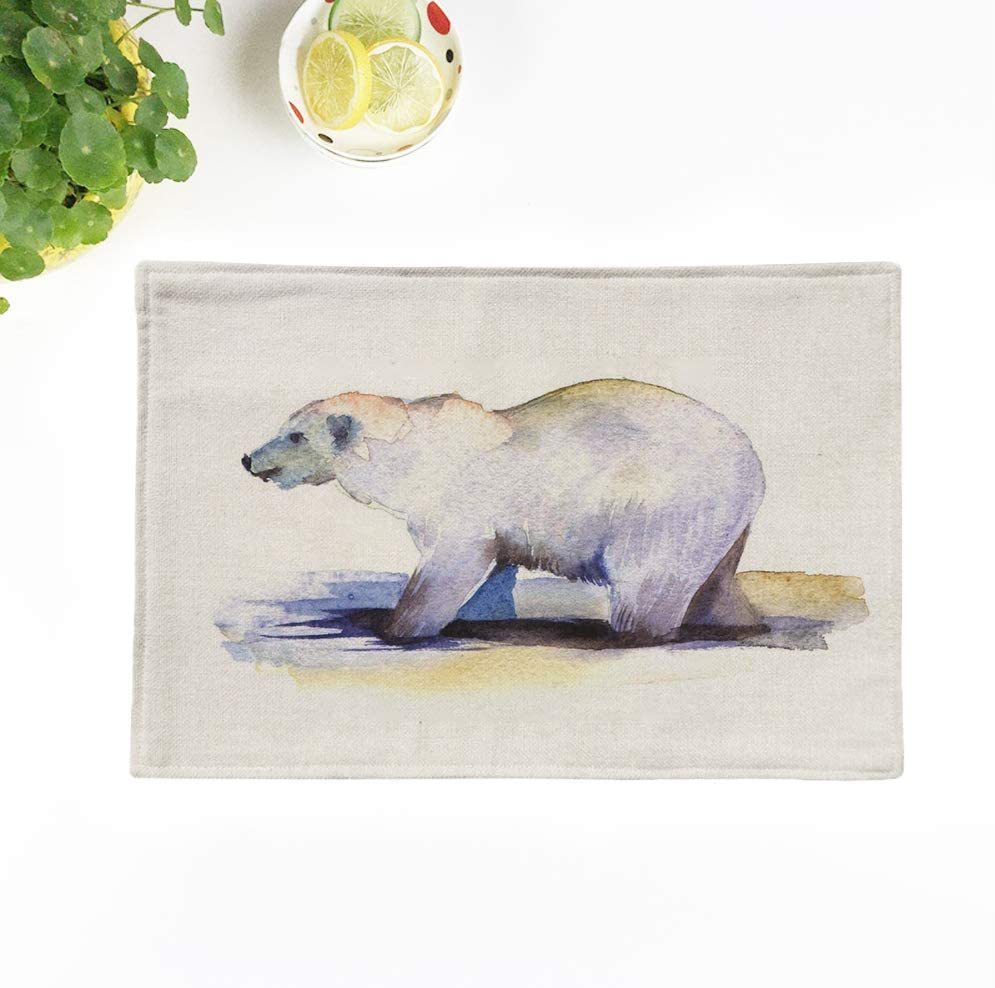 Topyee Placemats Set of 6 Polar Bear on a White Watercolor Sketch Animal Perfect for Christmas Cards Print 17x12.5 Inch Washable Place Mats for Kitchen Dinner Table Mats Parties Decor